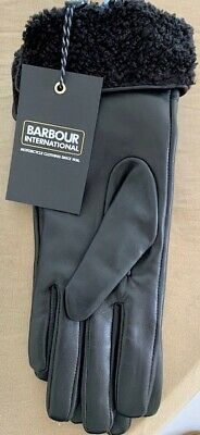 Barbour BNWT womens black leather gloves with faux-fur cuffs large