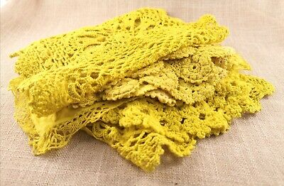 BULK lot of 11 chartreuse yellow hand dyed doilies. Crochet Lace Doilies