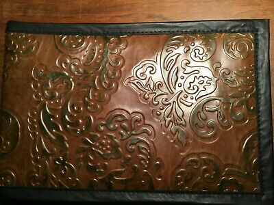 LEATHER 7 RING BUSINESS CHECK BINDER  CHOCOLATE  w/GREEN LEAVES COWHIDE LEATHER