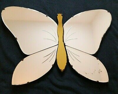 Art Deco Butterfly Mirror Frameless Bevelled Coloured