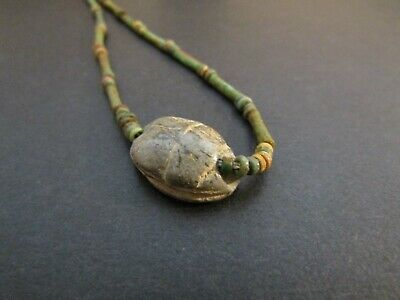NILE Ancient Egyptian Scarab Amulet Mummy Bead Neckace ca 1000 BC