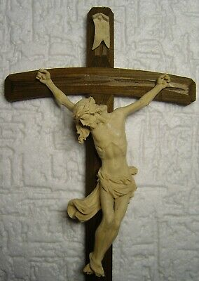 antique hand carved wooden cross Crucifix