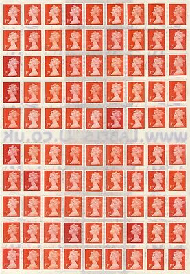 100 1St Class Standard Letter Red Unfranked Security Stamps + Gum On Easy Peel