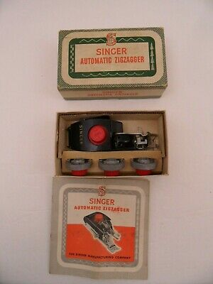 VTG SINGER AUTOMATIC ZIGZAGGER #161102 IN ORIGINAL BOX & 4 PATTERN CAMS Booklet
