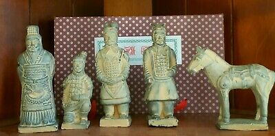 Vintage Set Chinese Terra Cotta Army Warriors Horse Figures Statues boxed