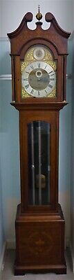 Edwardian Inlaid Mahogany Westminster Chiming Longcase Clock