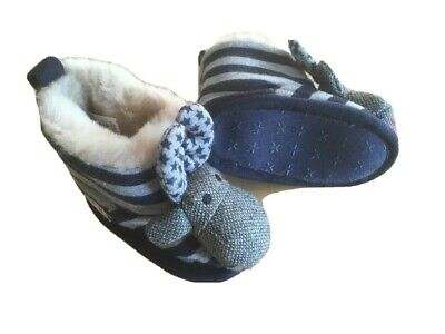 Next Boys slippers booties 3-6 Mths Striped Super soft 💜