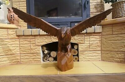 "31"" Exclusiv! Vintage big beautiful Hand Carved Wood Eagle Figure Statue USSR"