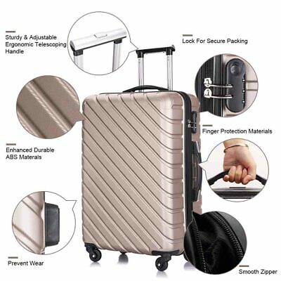 4 PCS Hardshell Luggage Set ABS Mobile Wheels Travel Spinner Suitcase Champagne