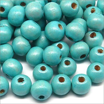 Lot de 100 Perles Rondes en Bois 8mm Aigue-Marine