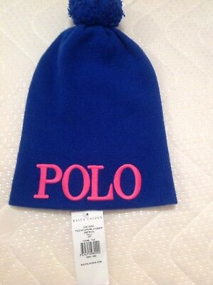 Polo Ralph Lauren Girl's Royal Blue Beanie Knit Hat One Size (6-8 Years) BNWT