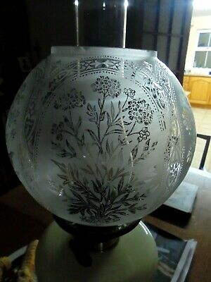 A Beautiful Victorian Style Floral Etch Twin Duplex Globe Shape Oil Lamp Shade.