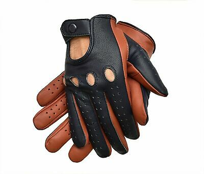 Driving Gloves Men Genuine Leather Two Tone Tan/Blue Snap Closure Free Shipping