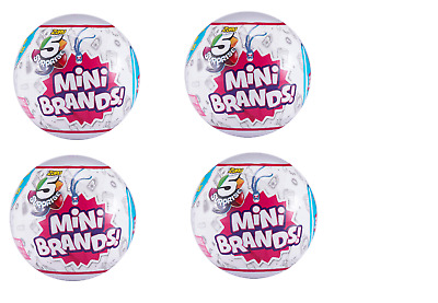 FOUR (4) Mini Brands Zuru 5 Surprise Mini Brands FOUR(4) BALLS NEW