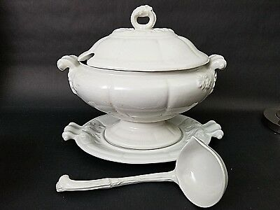 Vintage Mid Century 4 Pc RED CLIFF Ironstone Large Heavy Oval Soup Tureen