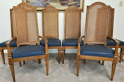 Set of (6) Vintage DREXEL FURNITURE Italian Provincial Cane Back Dining Chairs