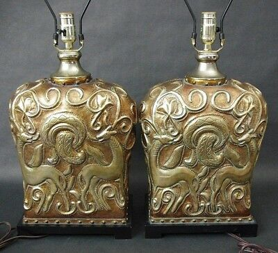 Pair of Stunning UTTERMOST Bronzed Finish Antelope Deer Table Lamps Chinoiserie