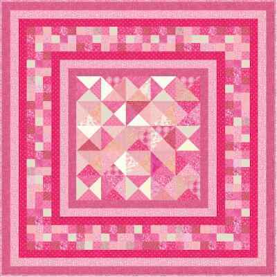 """THINK PINK - 67"""" - Quilt-Addicts Precut Quilt Kit Double size"""