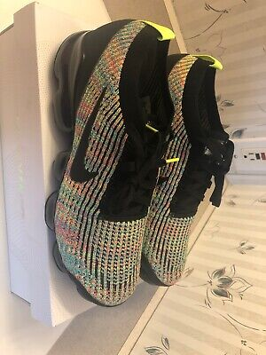 Nike Men's Air VaporMax Flyknit 3 Running Sneakers Black Volt Blue Size 10 NWB