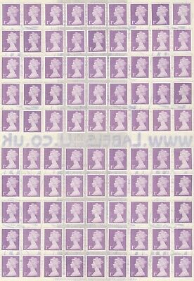 100 1St Class Standard Letter Lilac Unfranked Security Stamps + Gum On Easy Peel