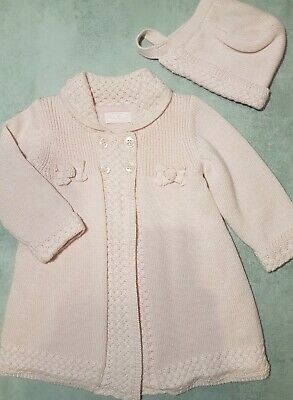 Stunning 2 Piece Mayoral Lined Warm Cardigan/coat With Bonnet 12m Dusky Pink