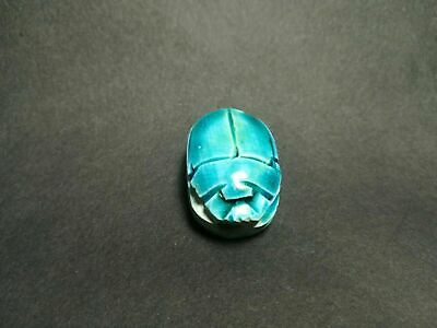 Antique Authentic Ancient Egyptian Faience Scarab Amulet Middle Kingdom-Early