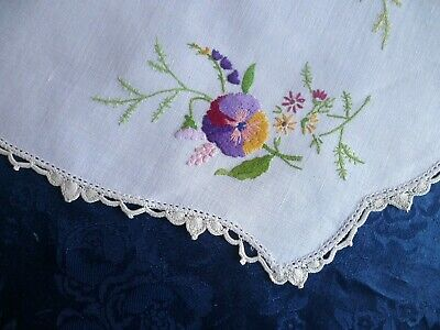 Vintage Hand Embroidered Pansies & Flowers Large Doiley Cream Crocheted Edge