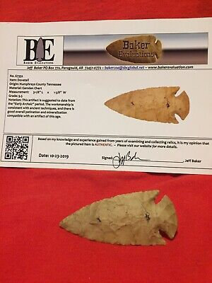 Authentic Dovetail Arrowhead With COA Grade 9.5 Humphreys County Tennessee 3 1/8