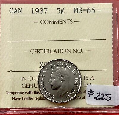 1937 Canada Five Cent Nickel Coin - ICCS Gem MS-65
