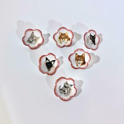 SET OF 6 Antique Handmade Porcelain Cat Buttons French Cat Buttons Victorian
