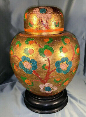 Antique Chinese/Asian Terra Cotta Gold Gilt Large Floral Hand Painted Ginger Jar