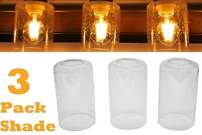 Seeded Glass Shade, 3 Pack Clear Bubble Cylinder for Light Fixture Ceiling Wall