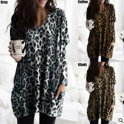 Women Fashion Leopard V Neck Long Sleeve Loose Casual Top T Shirt Blouse KTP
