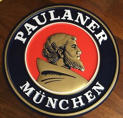 Authentic PAULANER MUNCHEN German Beer : Plastic Wall Sign : Excellent Cond