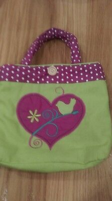 girls small tote bag lime green and purple. padded