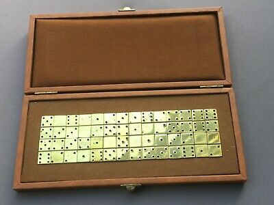 Vintage DOMINO Set, BRASS, In Case, Dominoes - Excellent