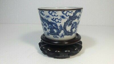 Rare Antique Chinese Blue And White Porcelain Dragon Cup With Chinese Mark