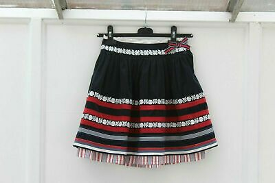 Joules Girls Skirt Fine blue cord White Embroidery Red Cotton Bands Age 6 (205)