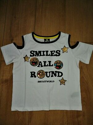Girls Smiley World Sequined Open Shoulder Top T-Shirt Age 9-10 Years