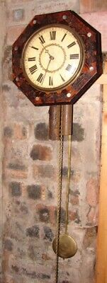 Antique Vintage German Wag On The Wall Time Strike Clock Black Forest Mop Inlaid