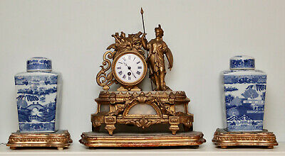 A Smart c19th Gilded French Figural Mantle Clock, Female Warrior