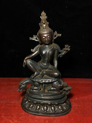 Chinese Old antique bronze Buddhism free guanyin Tara goddess statue Sculpture