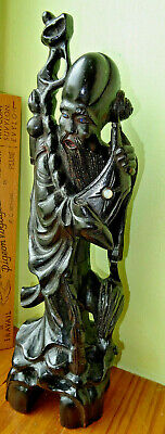 grand personnage chine?sculpté bois,carved wood and pearl inlaid.asia indochine
