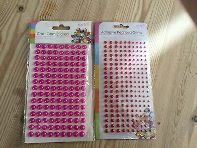 2 New Packs Adhesive Gems Pink Red Crafts Cards