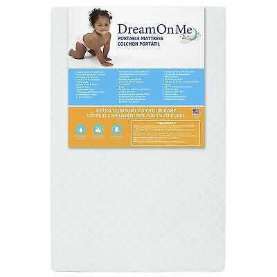 "Mini Crib Mattress Extra Firm 3"" Portable White Waterproof"