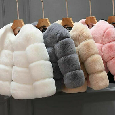 Winter Girls Faux Fur Coat Kids Jacket Thick Warm Outwear Grey Peach Black Red