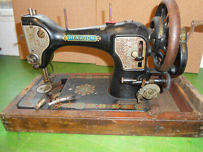 Hand Cranked Sewing Machine Circ 1900 Hexagon + 2 Bobbins and shuttle No case