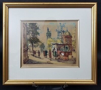 Antique MARCEL JULIAN BARON French Etching Hand Colored Hand Signed