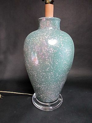 XL Vintage Textured Ceramic Lucite Table Lamp Turquoise Greens Pink Speckled 31""