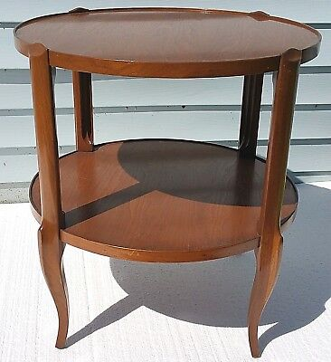 VTG Bodart French Country Provincial 2 Tier Side End Lamp Wood Occasional Table